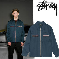 STUSSY Short Stripes Street Style Plain Coach Jackets Oversized