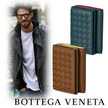 BOTTEGA VENETA Street Style Bi-color Leather Folding Wallets