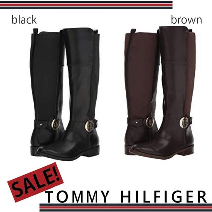 3ca92d3f0 Tommy Hilfiger 2018-19AW Round Toe Plain Elegant Style Flat Boots ...