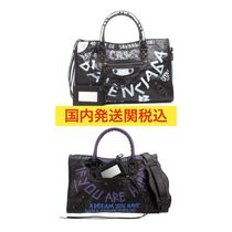 BALENCIAGA CITY Casual Style Lambskin Street Style 2WAY Bi-color Handbags