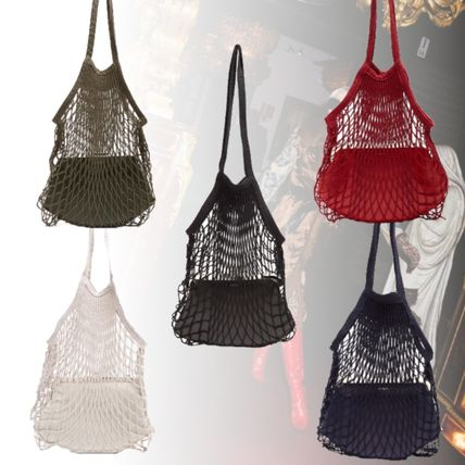Casual Style Bag in Bag 2WAY Plain Leather Shoulder Bags