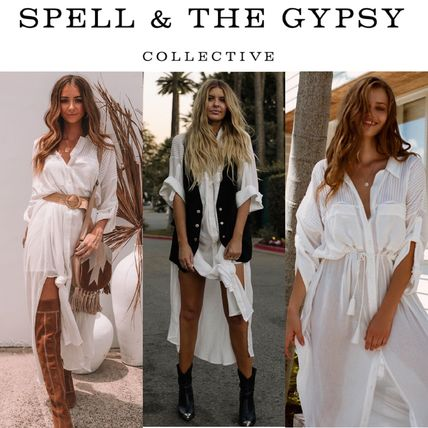 Casual Style Long Sleeves Plain Long Shirt Dresses Dresses