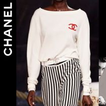 CHANEL Cashmere Long Sleeves Plain Cashmere