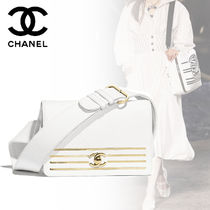 CHANEL Plain Leather Elegant Style Shoulder Bags