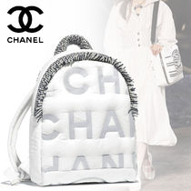 CHANEL Nylon A4 Plain Elegant Style Backpacks