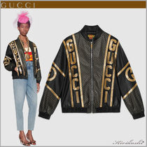 GUCCI Short Unisex Leather Python Oversized Souvenir Jackets