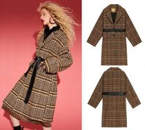 ELF SACK Glen Patterns Casual Style Wool Chester Coats