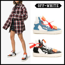 Off-White Casual Style Unisex Street Style Bi-color Leather