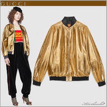 GUCCI Short Unisex Street Style Plain Leather Souvenir Jackets