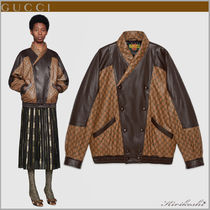 GUCCI Short Monogram Street Style Leather Oversized