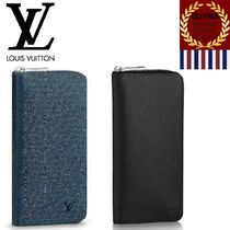 Louis Vuitton TAIGA Plain Leather Long Wallets