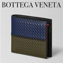 BOTTEGA VENETA Calfskin Bi-color Plain Folding Wallets