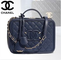 CHANEL Calfskin Vanity Bags 2WAY Chain Plain Shoulder Bags
