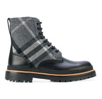 Burberry Other Check Patterns Blended Fabrics Plain Leather Boots