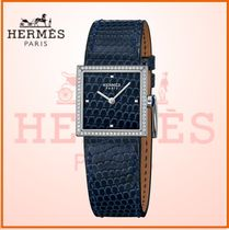 HERMES Blended Fabrics Leather Square Jewelry Watches With Jewels