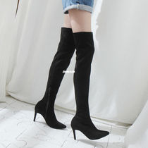 Casual Style Suede Plain Pin Heels Over-the-Knee Boots
