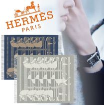 HERMES Blended Fabrics Fringes Geometric Patterns Art Patterns