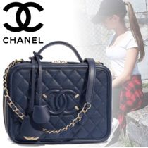 CHANEL Calfskin Blended Fabrics 3WAY Chain Plain Elegant Style