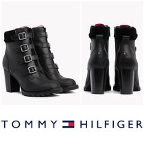 Tommy Hilfiger Plain Toe Leather Block Heels High Heel Boots