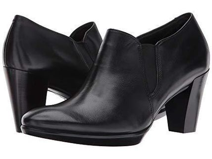 Plain Leather Block Heels Ankle & Booties Boots