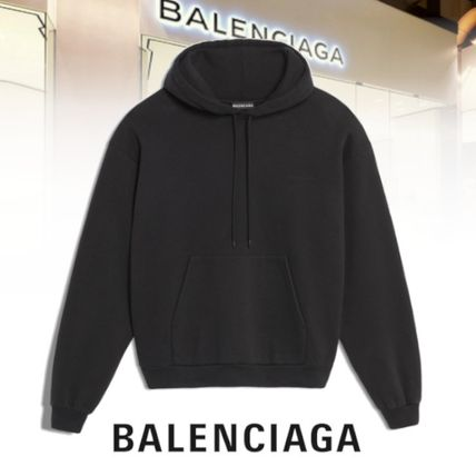 BALENCIAGA Hoodies Blended Fabrics Long Sleeves Cotton Hoodies