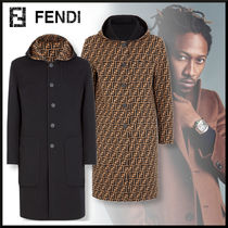 FENDI Unisex Wool Plain Long Duffle Coats