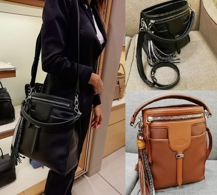 Tassel 2WAY Plain Leather Office Style Shoulder Bags