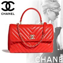 CHANEL Blended Fabrics 2WAY Chain Plain Elegant Style Handbags