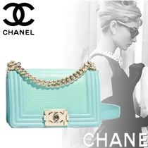 CHANEL BOY CHANEL Calfskin Blended Fabrics Chain Other Animal Patterns