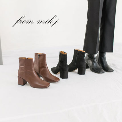 Ankle & Booties Square Toe Casual Style Suede Street Style Plain Block Heels