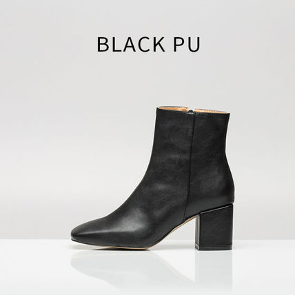 Ankle & Booties Square Toe Casual Style Suede Street Style Plain Block Heels 5