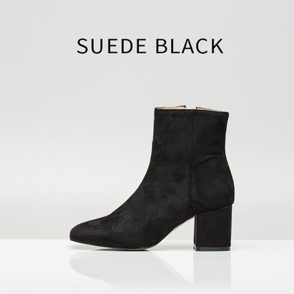 Ankle & Booties Square Toe Casual Style Suede Street Style Plain Block Heels 6