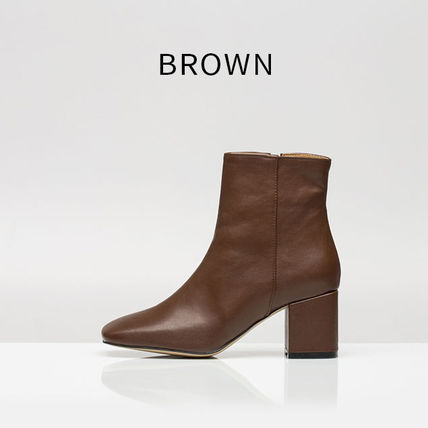 Ankle & Booties Square Toe Casual Style Suede Street Style Plain Block Heels 7