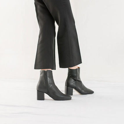 Ankle & Booties Square Toe Casual Style Suede Street Style Plain Block Heels 8