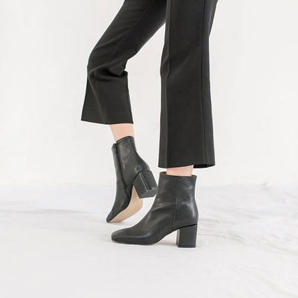 Ankle & Booties Square Toe Casual Style Suede Street Style Plain Block Heels 10