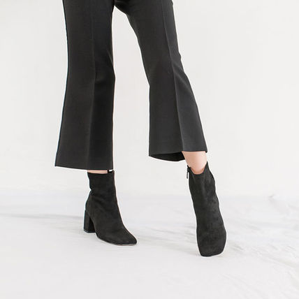 Ankle & Booties Square Toe Casual Style Suede Street Style Plain Block Heels 11