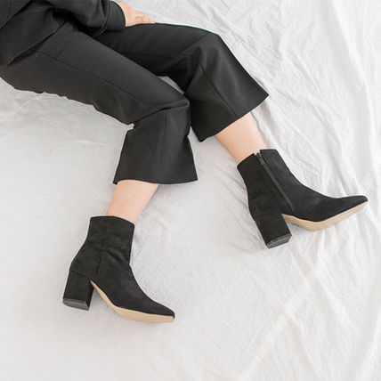 Ankle & Booties Square Toe Casual Style Suede Street Style Plain Block Heels 12
