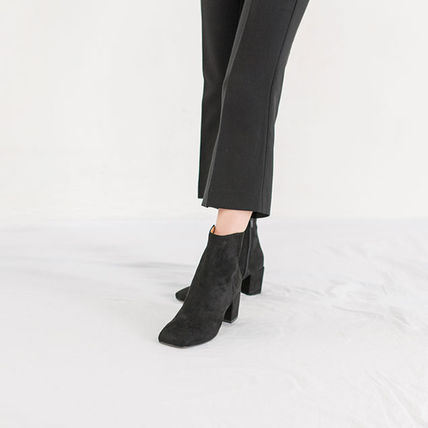 Ankle & Booties Square Toe Casual Style Suede Street Style Plain Block Heels 13