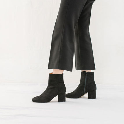 Ankle & Booties Square Toe Casual Style Suede Street Style Plain Block Heels 14