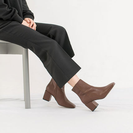 Ankle & Booties Square Toe Casual Style Suede Street Style Plain Block Heels 16