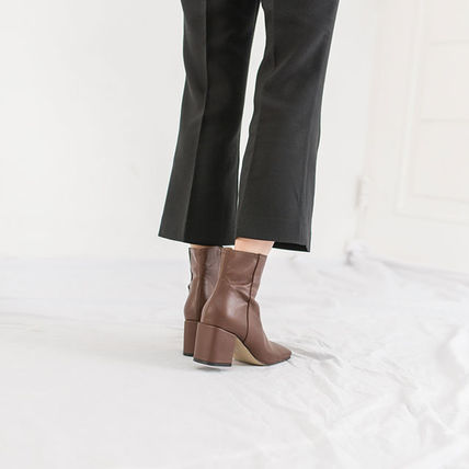 Ankle & Booties Square Toe Casual Style Suede Street Style Plain Block Heels 17