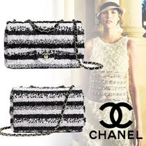 CHANEL Stripes Blended Fabrics 2WAY Chain Elegant Style