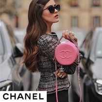 CHANEL Unisex 2WAY Plain Leather Party Style Shoulder Bags