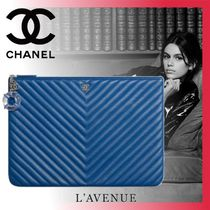 CHANEL Lambskin Plain Party Style Clutches