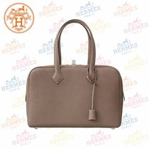 HERMES Victoria Blended Fabrics A4 Plain Leather Totes