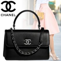 CHANEL Calfskin Blended Fabrics 2WAY Chain Plain Elegant Style