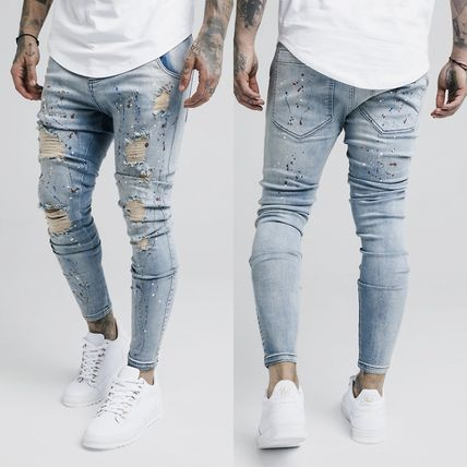 Unisex Street Style Plain Cotton Skinny Fit Jeans & Denim