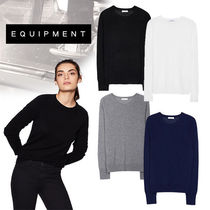 Equipment Crew Neck Cable Knit Casual Style Cashmere Long Sleeves
