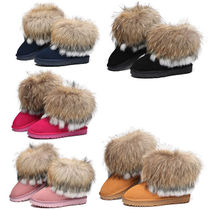 Round Toe Casual Style Fur Flat Boots
