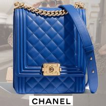 CHANEL BOY CHANEL Calfskin Chain Plain Party Style Handbags